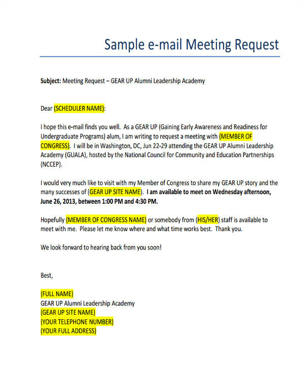 meeting email samples
