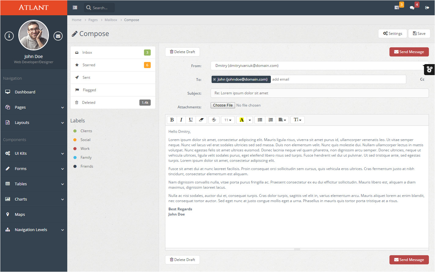 Email Template Using Bootstrap atlant Bootstrap Admin Template by Aqvatarius themeforest