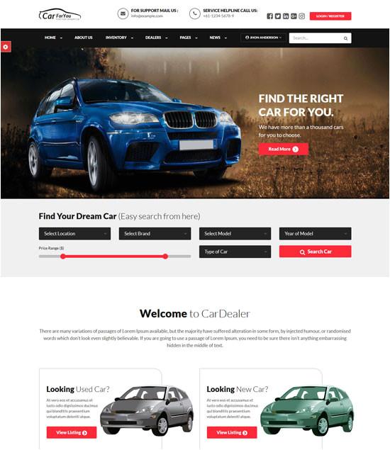 free car auto website templates