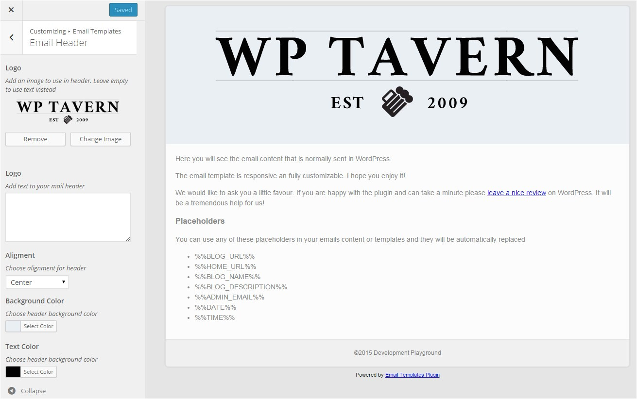 edit email templates in the customizer