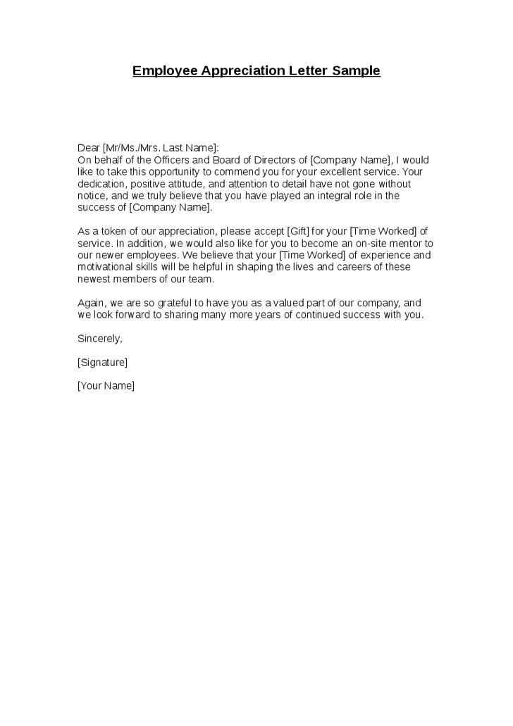 10 free sample appreciation letters