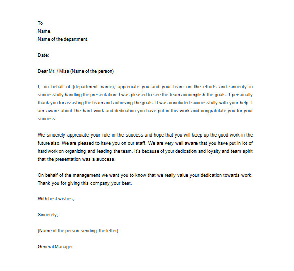 Employee Appreciation Day Email Template 15 Thank You Letter to Employee Pdf Doc Free