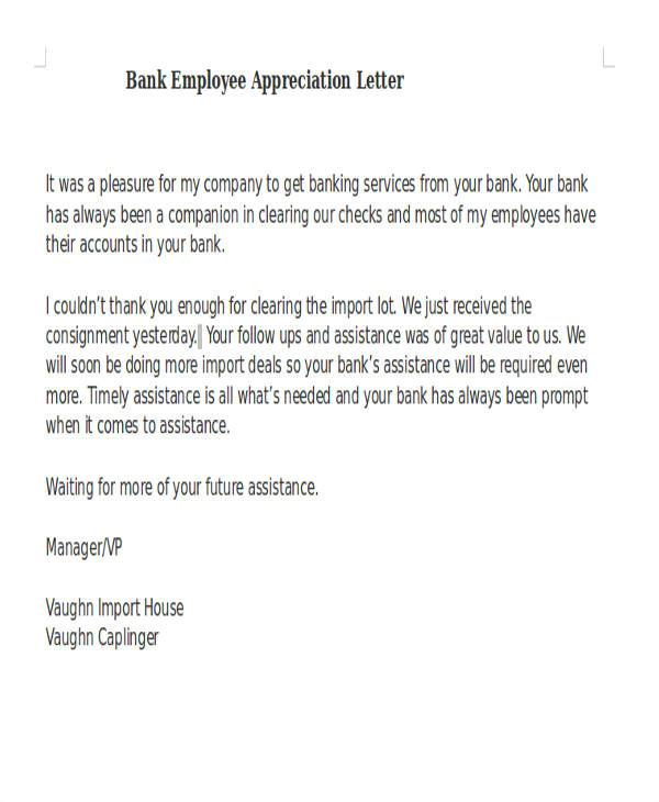 appreciation letter sample