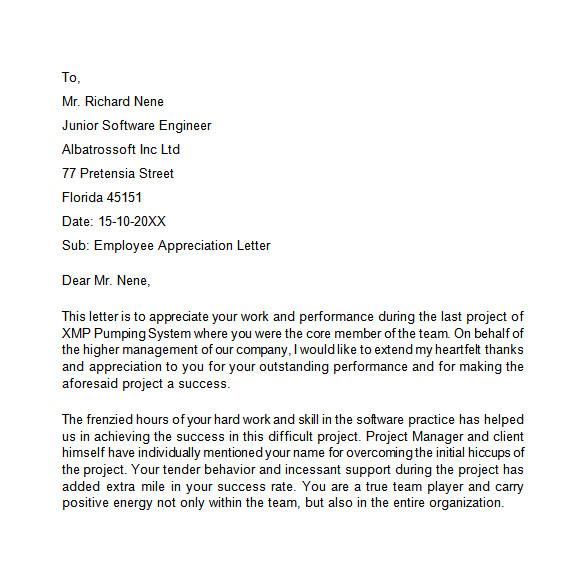 sample appreciation letter