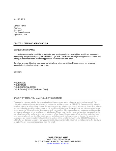 letter of appreciation to employee d664