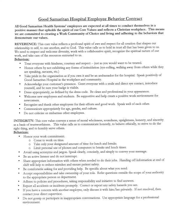 Employee Behavior Contract Template 12 Sample Behavior Contract Templates Word Pages Docs
