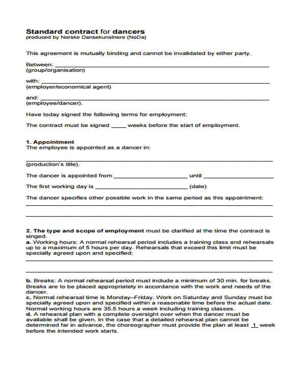 performance contract form