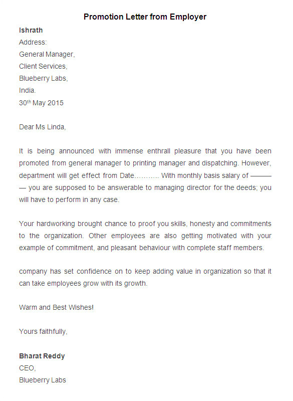 Employee Promotion Contract Template 20 Promotion Letter Templates Pdf Doc Apple Pages