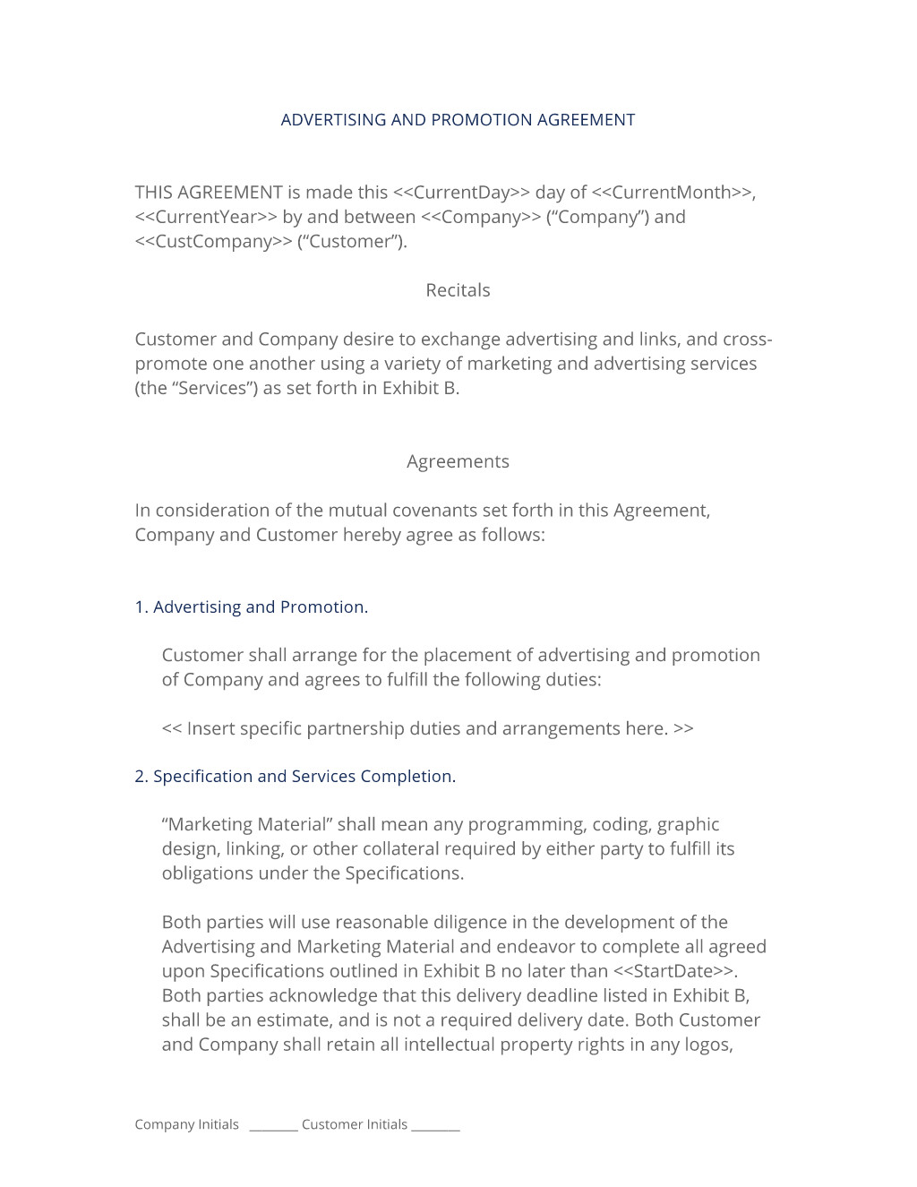 advertising promotion contract
