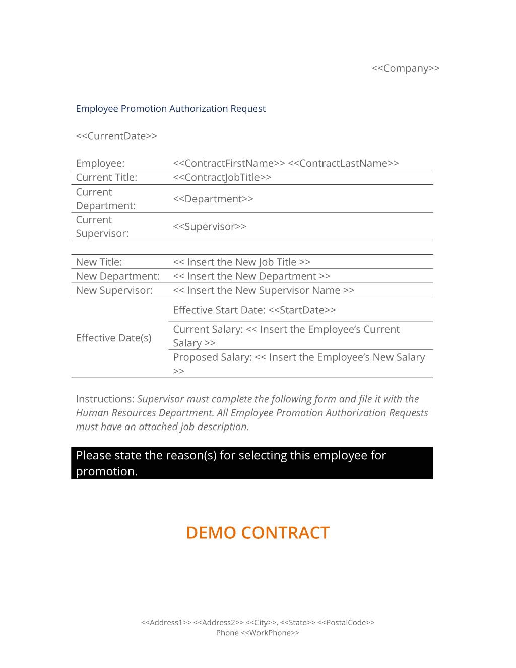 employee job promotion authorization form template