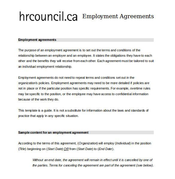 employee agreement