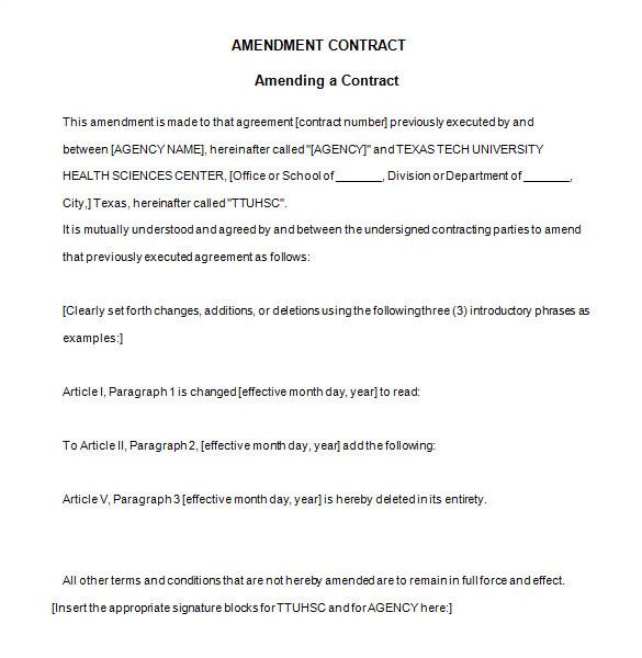 Employment Contract Amendment Template 9 Contract Amendment Templates Word Pdf Google Docs