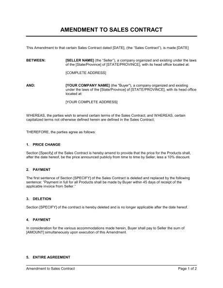 amendment to sales contract d1224