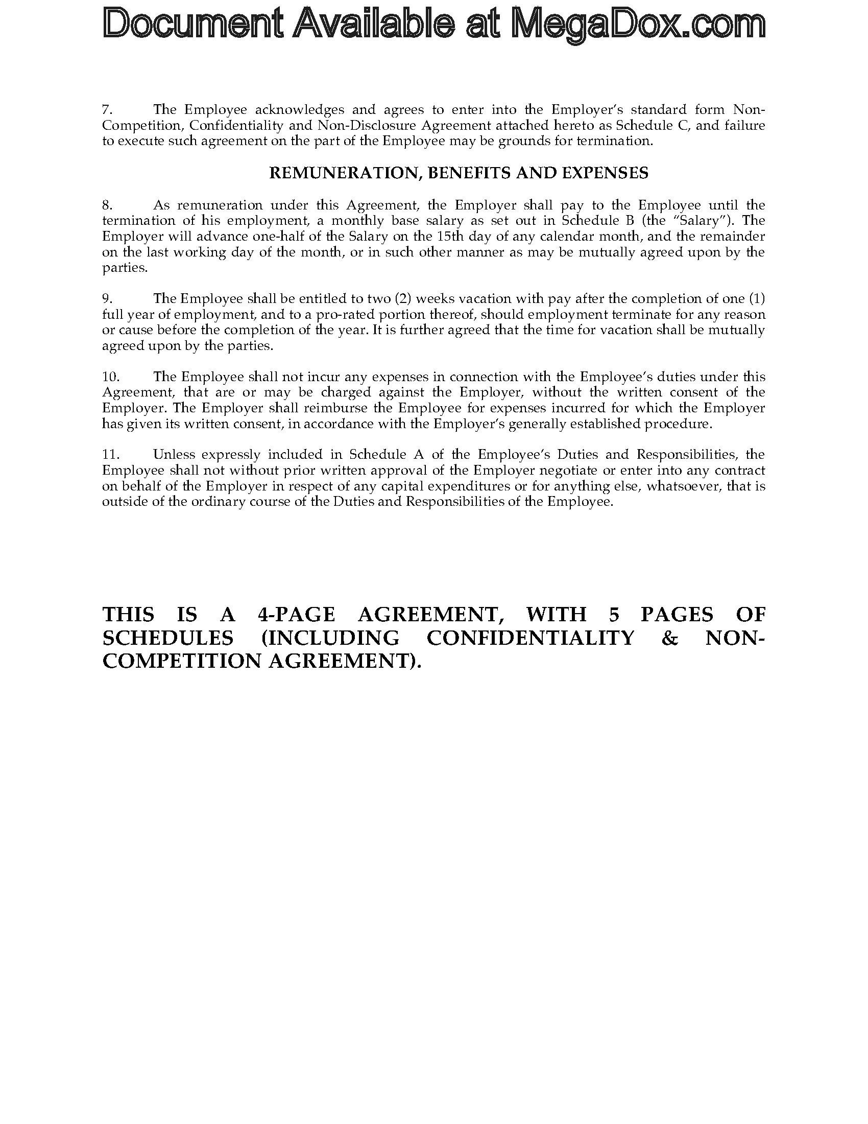 canada employment agreement