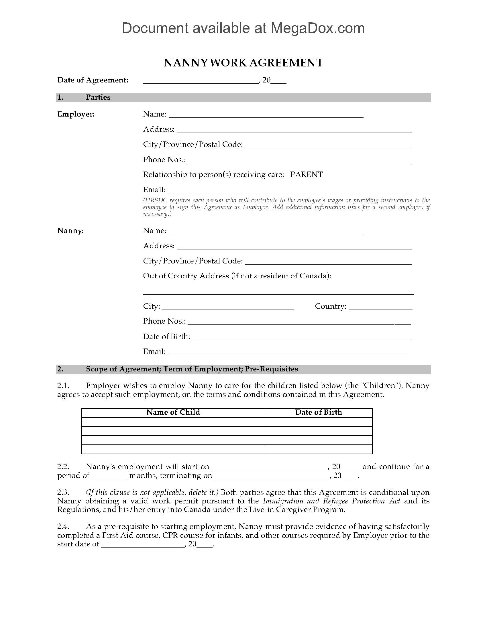 canada nanny employment agreement