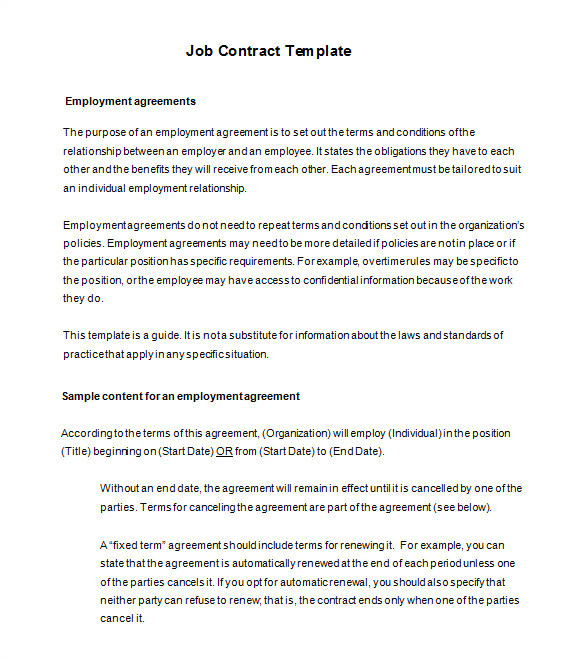 employment contracts templates australia