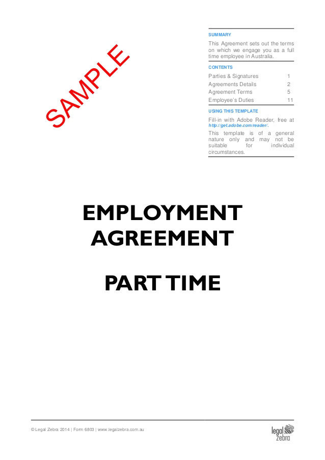 Employment Contract Template Australia Part Time Employment Agreement Template Australia Sample