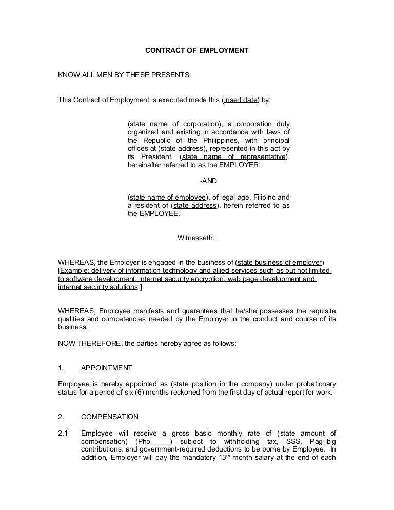 Employment Contract Template India Contract Of Employment Probationary Employee