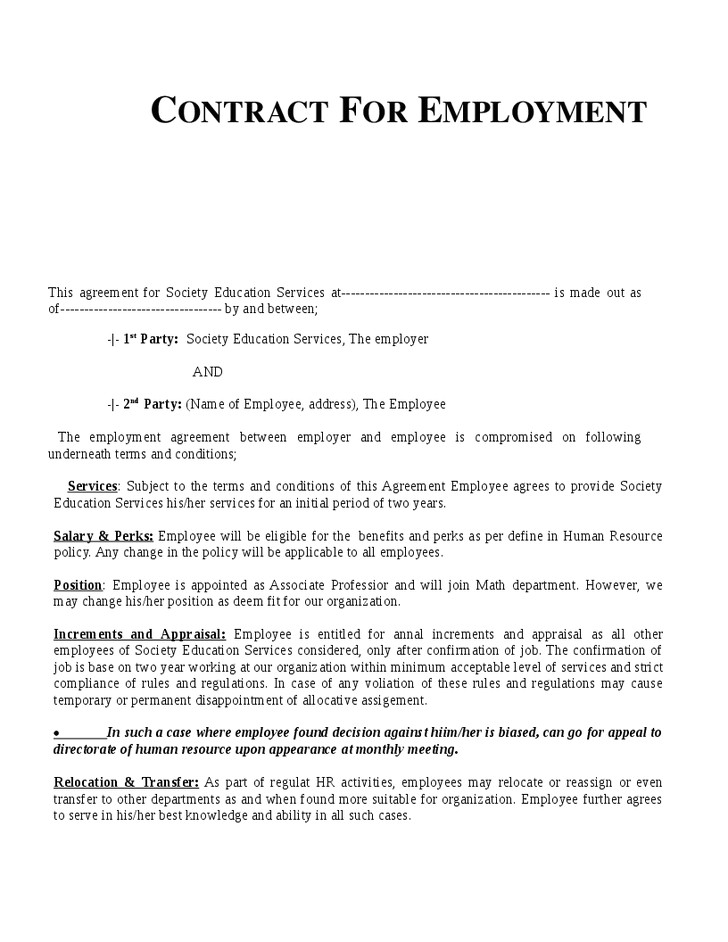 Employment Contract Template India Example Employment Contract Invitation Templates