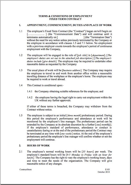 Employment Contract Template India Fixed Short Term Employment Contract Template