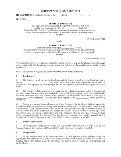 india employment agreement template