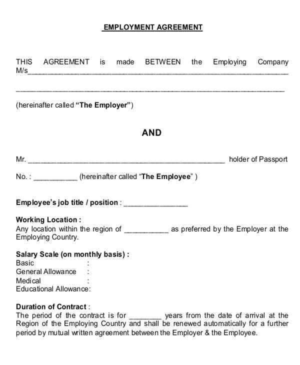 job agreement contract
