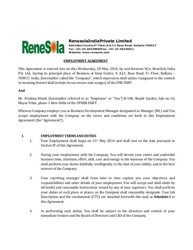Employment Contract Template India Renesola India Employment Agreement