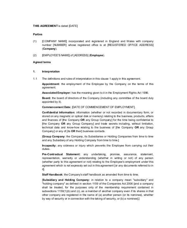 employment contract template nsw australia executive employment