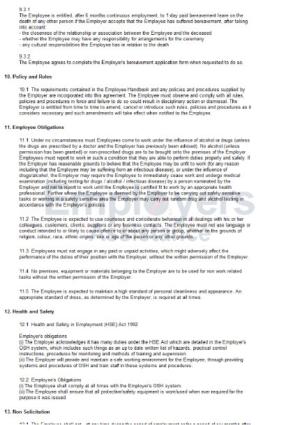 Employment Contract Template Nz Part Time Employment Contract Agreement Employers