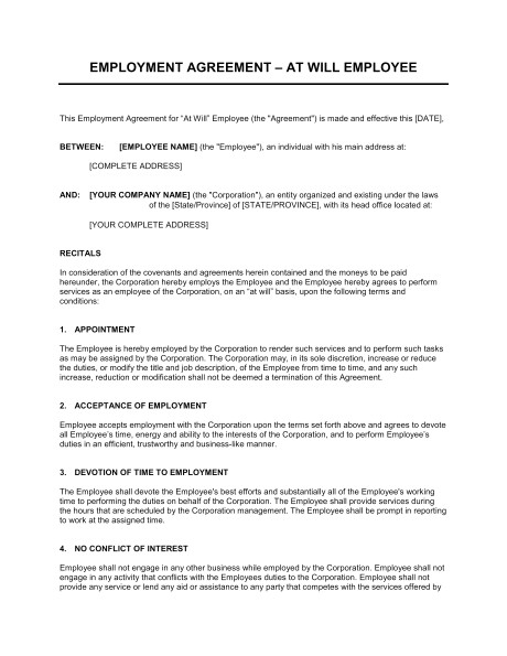 Employment Contract Template Ontario Employment Agreement at Will Employee Template Word