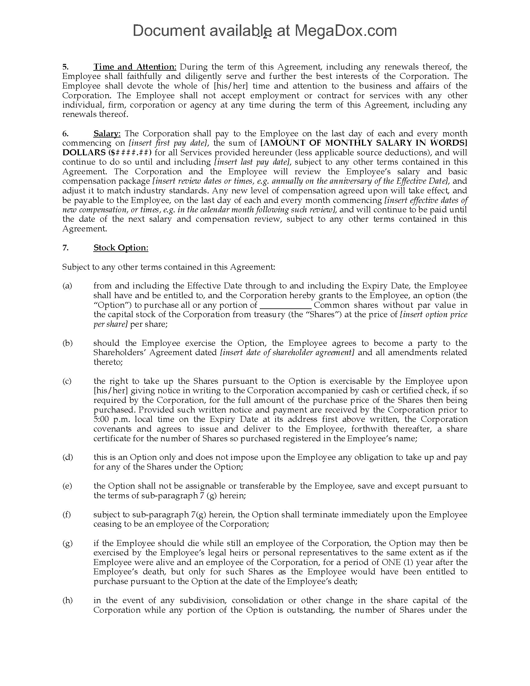 ontario employment agreement for ceo position