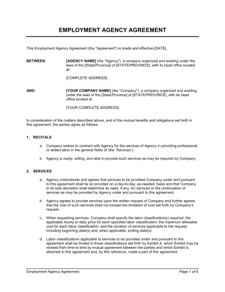 employment agency agreement d157