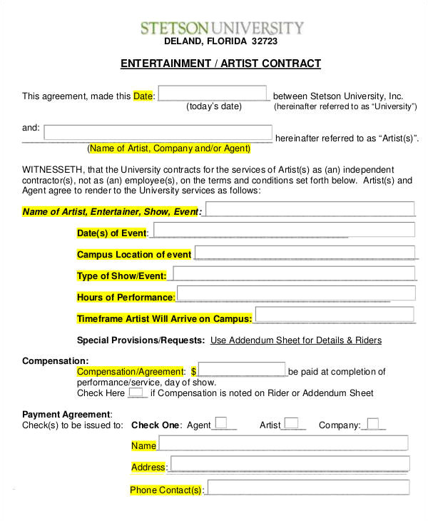 Entertainment Contract Templates Free Download 14 Artist Contract Templates Word Apple Pages Pdf