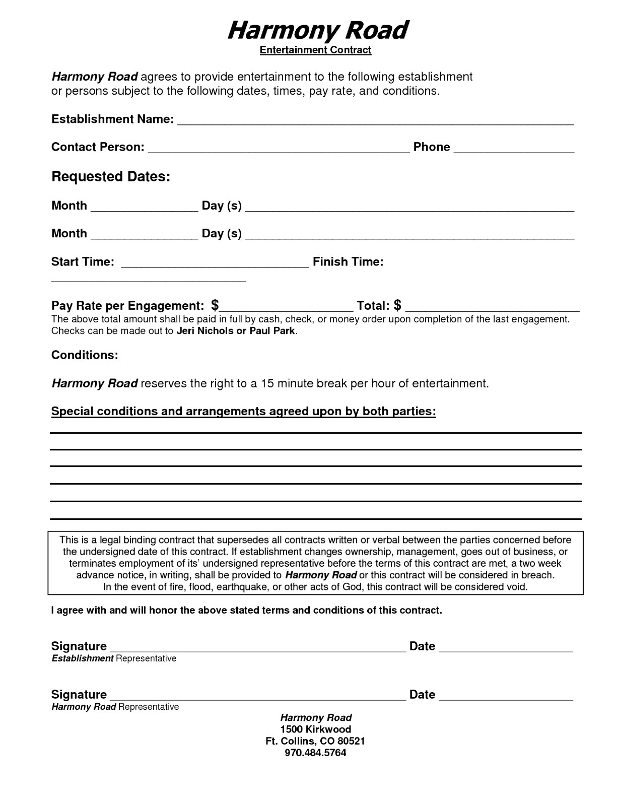 entertainment contracts templates