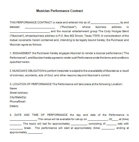 entertainment contract templates