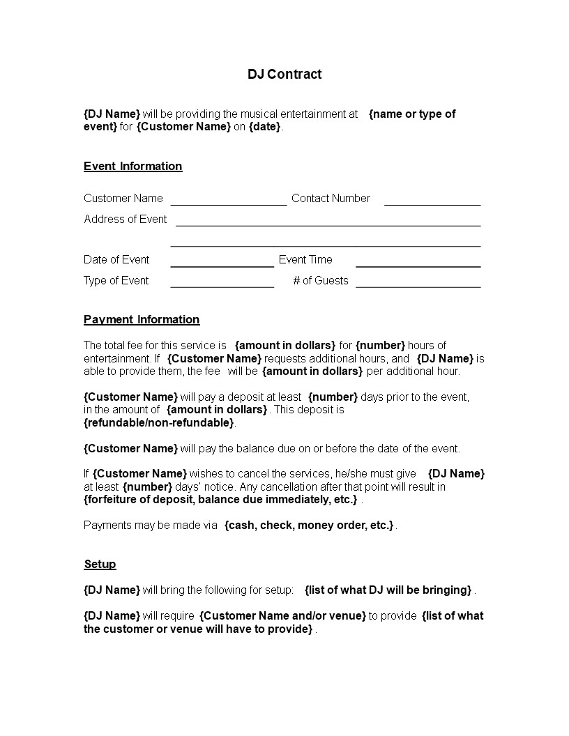 Entertainment Contract Templates Free Download Musical Entertainment Contract Templates at