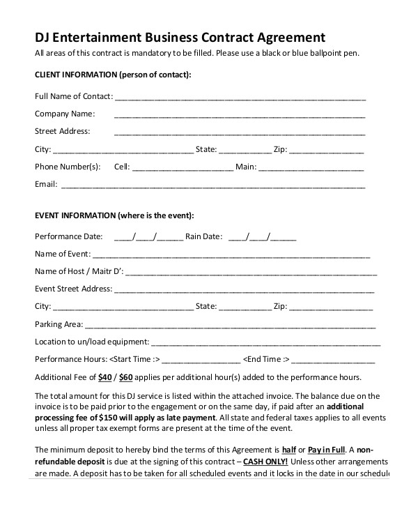 Entertainment Contract Templates Free Download Sample Dj Contract 14 Examples In Word Pdf Google