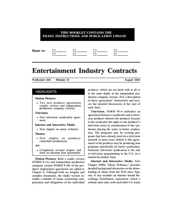 Entertainment Contract Templates Free Download Sample Industry Contract Template 5 Free Documents