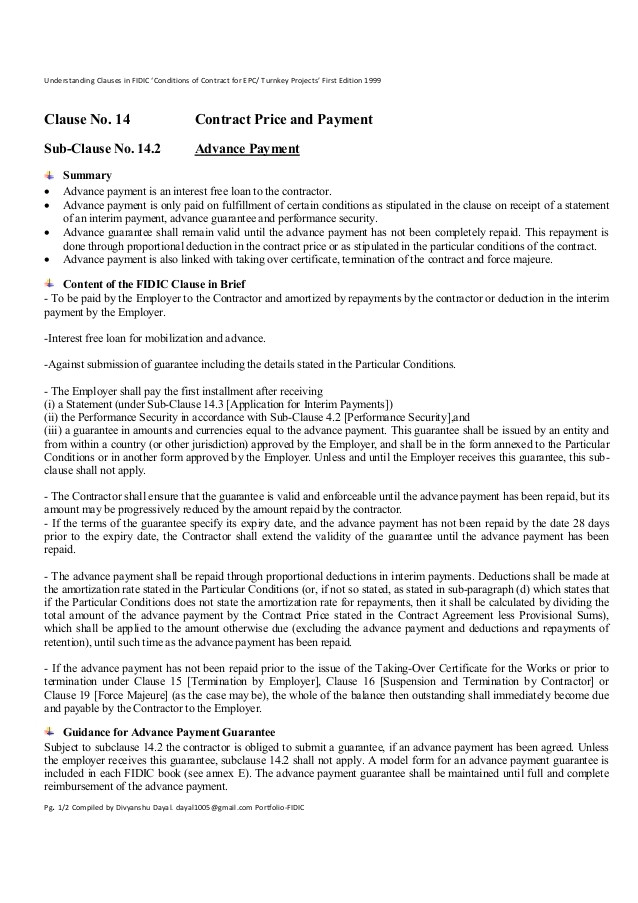 Epc Contract Template Clause 14 2 Advance Payment Understanding Clauses In Fidic