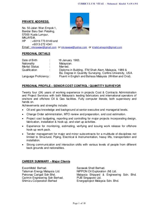 curriculum vitae sample quantity surveyor