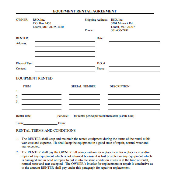 Equipment Rental Contract Template Word Sample Equipment Rental Agreement Template 15 Free