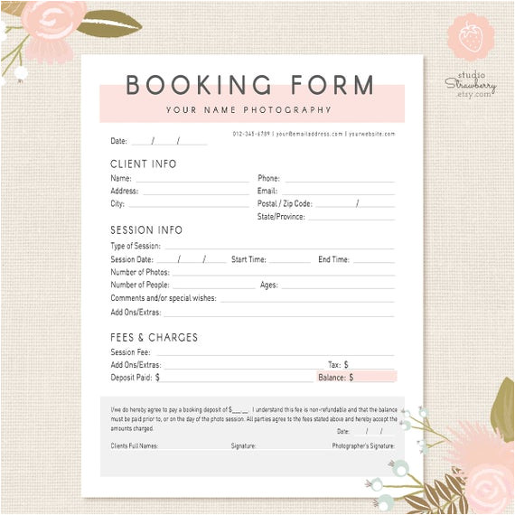 Escort Agency Contract Template Photography forms Client Booking form for Photographer