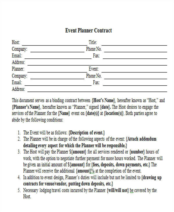 event contract templates