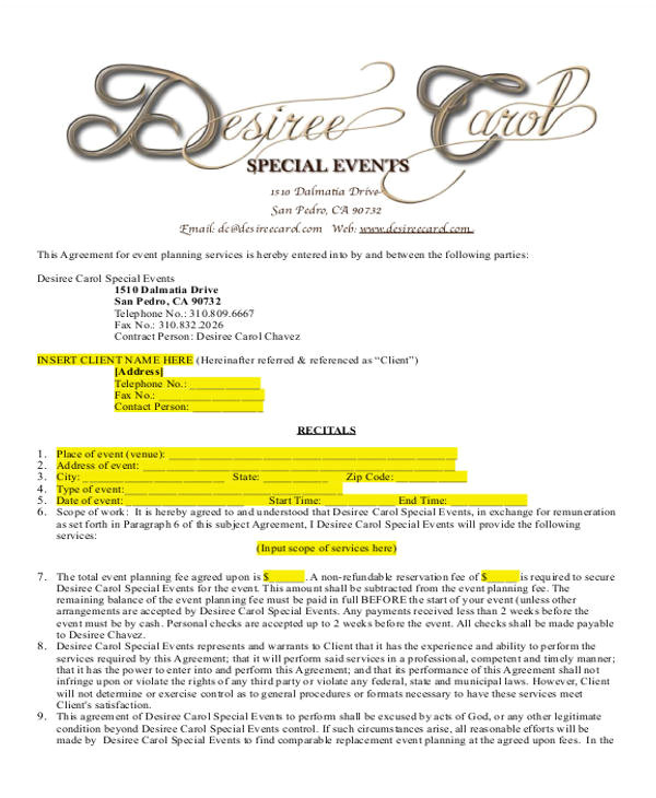 Event Planner Contract Template event Planner Contract Sample 14 Examples In Word Pdf