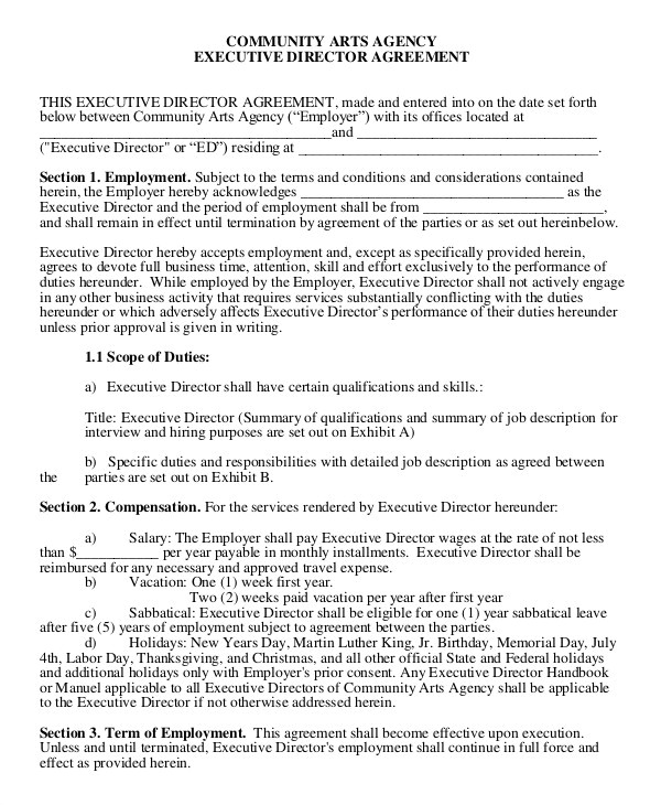 Executive Director Contract Template Employment Agreement Template 24 Free Word Pdf format