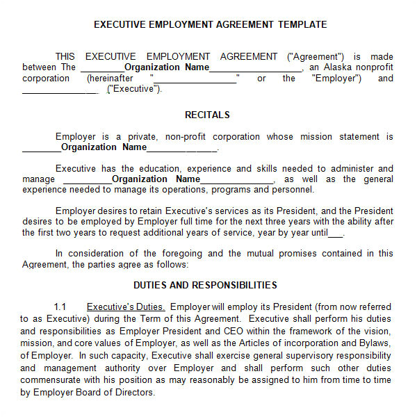 Executive Director Contract Template Executive Agreement 10 Download Free Documents In Pdf Word