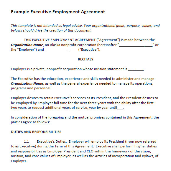 Executive Director Contract Template Executive Agreement 7 Free Samples Examples format