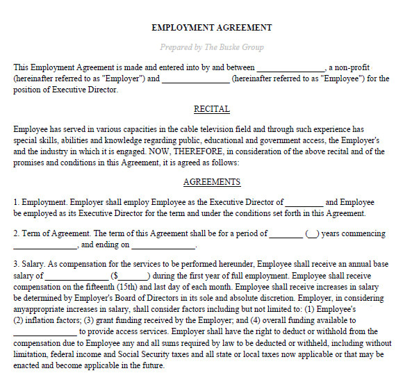 Executive Director Contract Template Sample Executive Agreement 5 Documents In Pdf Word