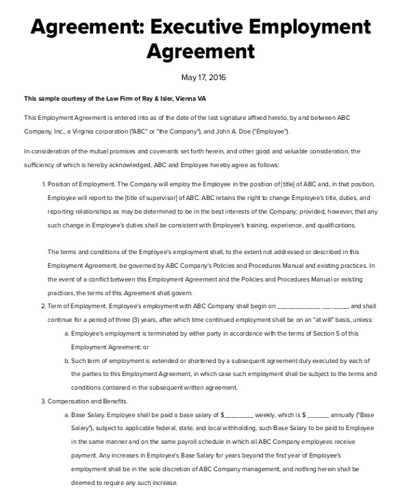 Executive Employment Contract Template Sample Executive Employment Agreement 10 Documents In