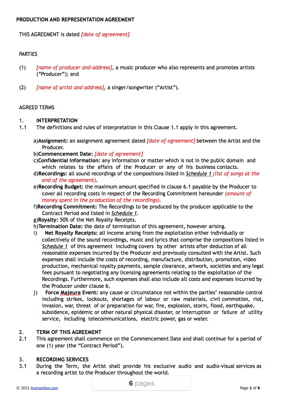11923 music producer contract agreement